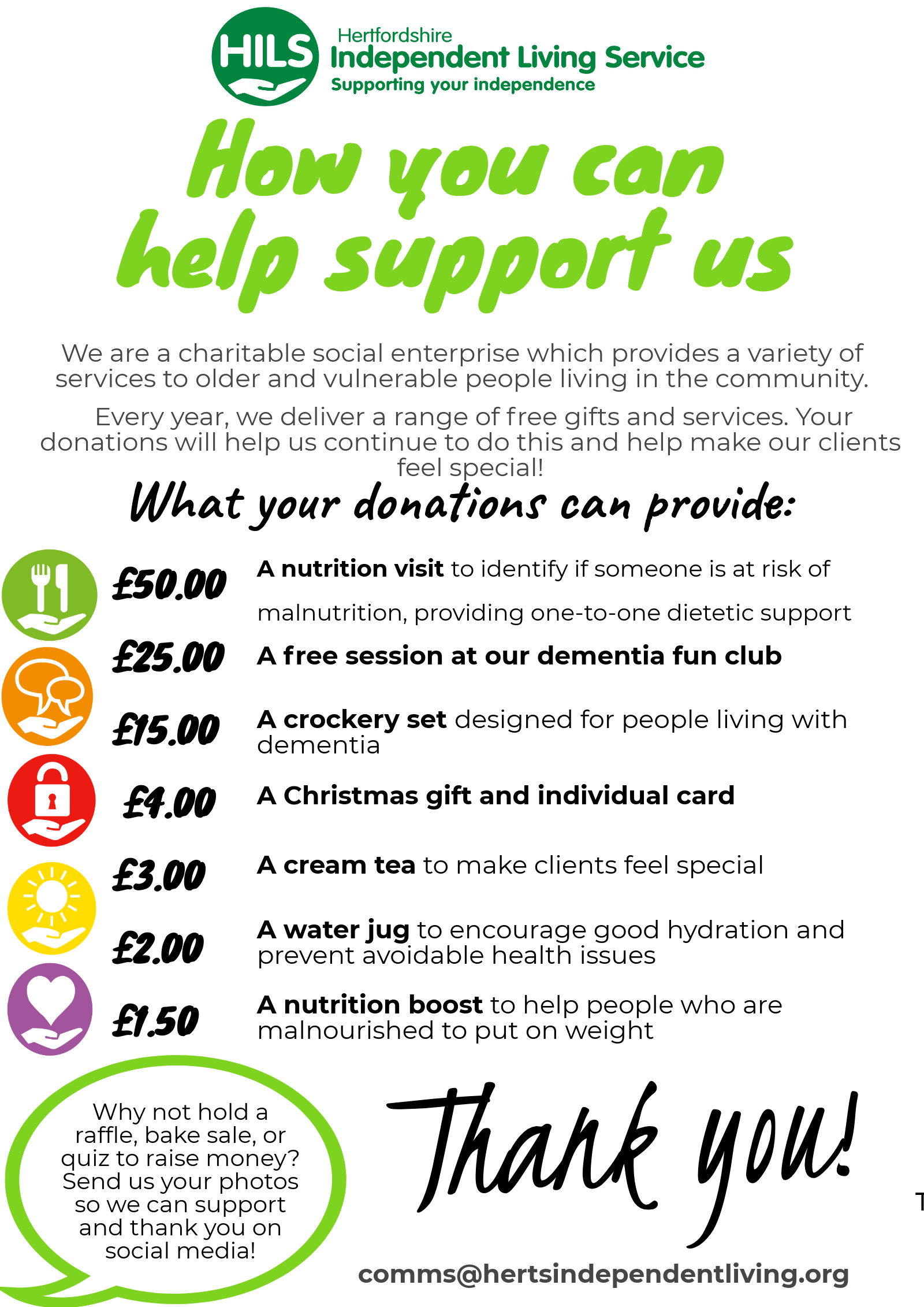 Fundraising : Hertfordshire Independent Living Service